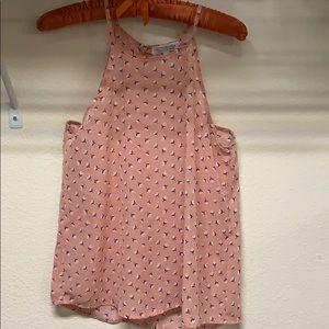 🌷Active USA Floral Peach Sheer Halter Top 🌷